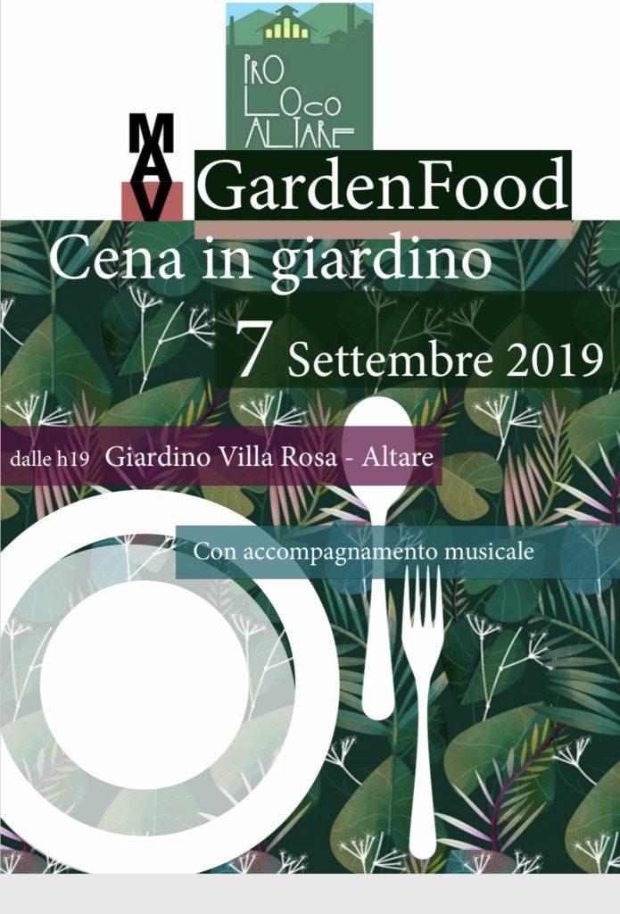 """GardenFood"" – Cena in giardino Sabato 7 settembre 2019"