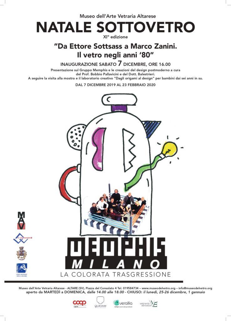 """Dal 7 dicembre 2019 al 23 febbraio 2020 – NATALE SOTTOVETRO """"Da Ettore Sottsass a Marco Zanini. Il vetro negli anni '80"""""""